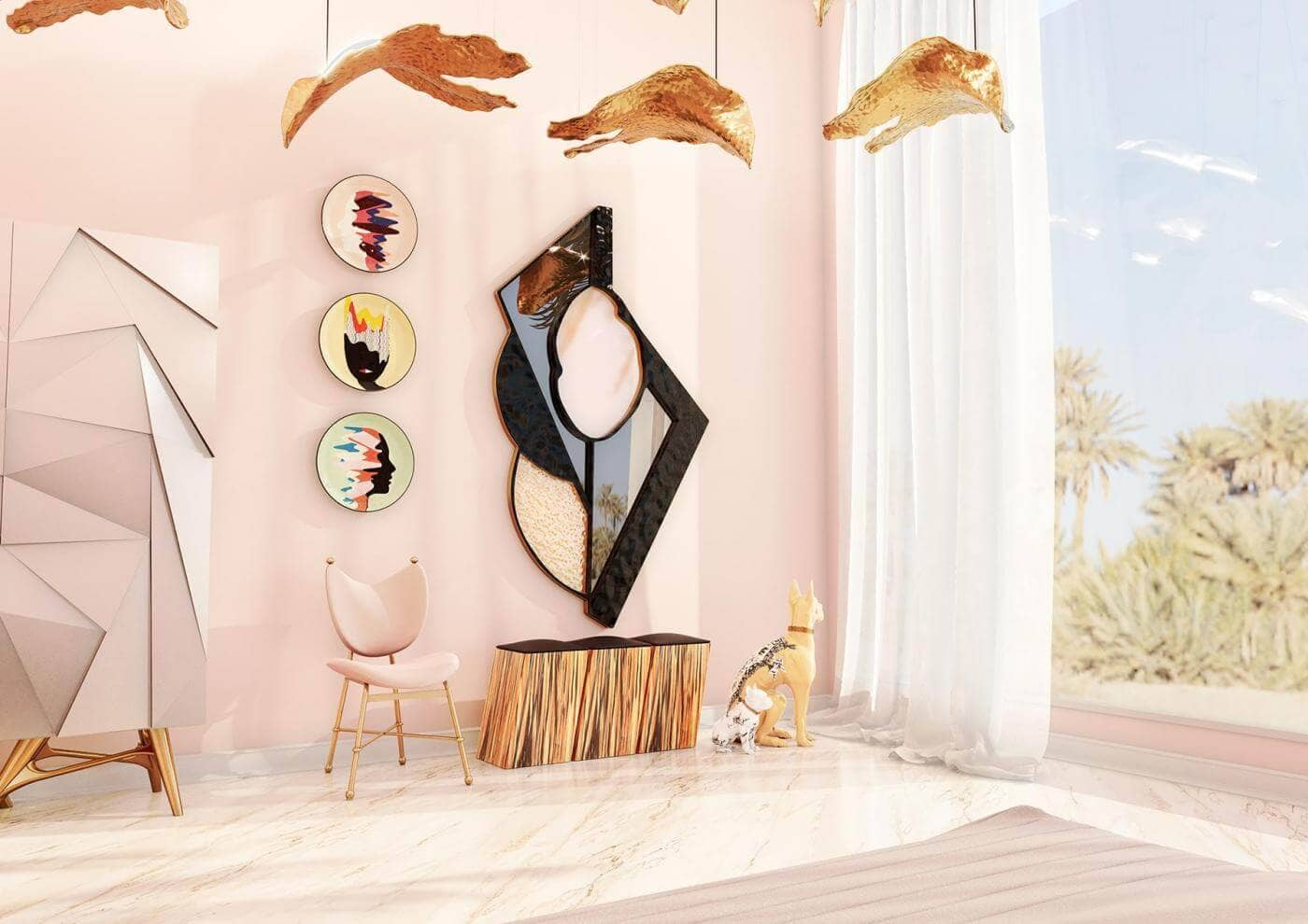 millennial pink interior